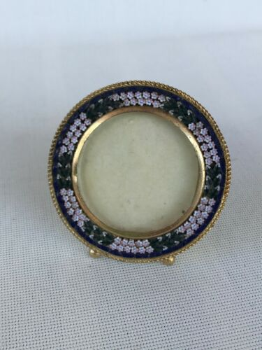 Antique vintage Italy Italian micro mosaic glass flower photo frame round 6cm