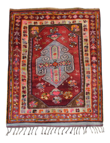 1920s Antique Turkish Rug 3′11″ x 4′11″ Hand-Knotted Anatolian Nomad Rug - RARE