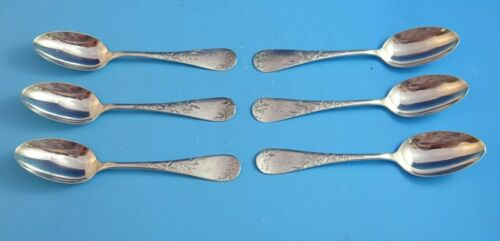 6 Antique Sterling Teaspoons by Knowles with Floral Bright Cut Design (2791)