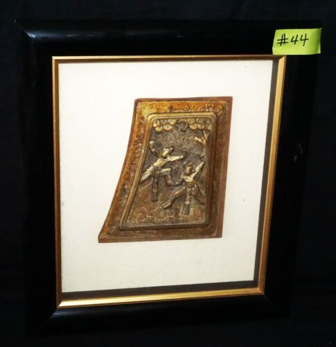 Antique Chinese Wooden Carved Panel Framed & Mounted w. Dancer Motif (***)