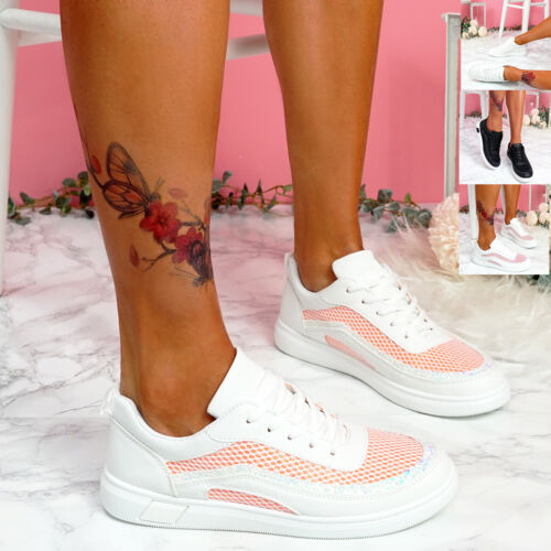 WOMENS LADIES LACE UP LOW HEEL TRAINERS WALKING PARTY SNEAKERS WOMEN SHOES SIZE