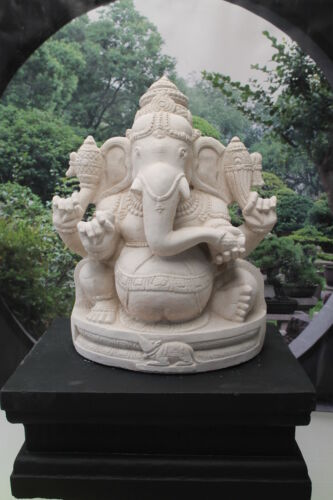 LARGE GANESH STATUE AND PLINTH BUDDHA STATUE IN SOLID WHITE LIMESTONE