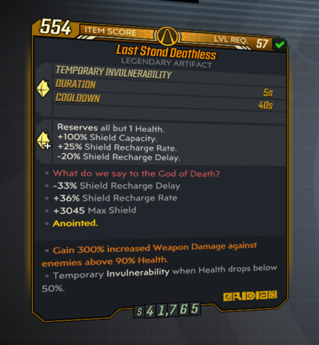 Borderlands 3 | Land Stand Deathless | LVL 57 | Modded | XBOX / PS4