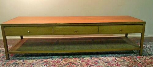 Mid Century Paul McCobb Calvin Irwin Collection Caned 3 Drawer Coffee Table