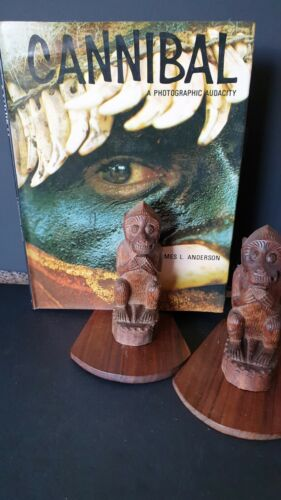 Old Balinese Carved Teak Monkey Bookends …beautiful collection & display pair
