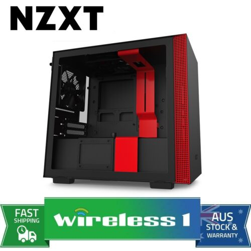 NZXT H210i Smart Mini ITX Gaming Computer Case - Matte Black/Red