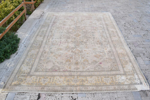 Oushak Turkey Rug 6'4''x9'5'' Vintage Faded Color Medallion Floral Design 6x9