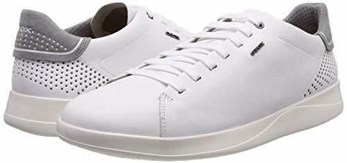 £100 GEOX MENS U KENNET B WHITE REAL LEATHER LOW TOP TRAINERS SNEAKERS SIZE 10