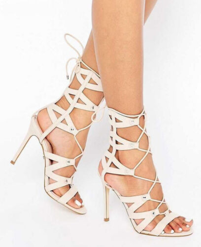 £120 LIPSY SIZE 3 - 8 BEVAN NUDE HIGH HEEL CAGED LACE UP GLADIATOR SANDALS SHOES