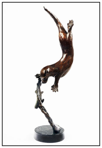 Christopher Smith Originale Bronzo Scultura Firmato Grande Otter Pesci Fauna Art
