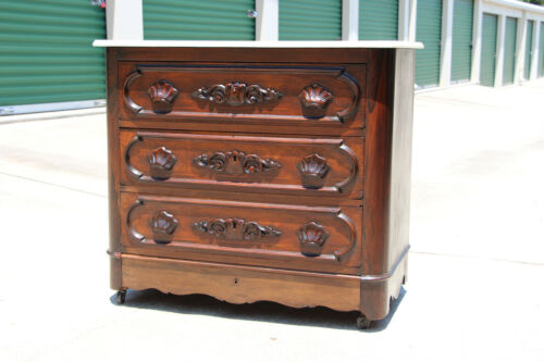 Fine Victorian Rosewood and Walnut Ohio Signed Marble Top Chest Dresser Ca.1870