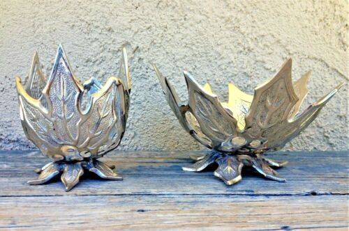SET OF 2 SILVERPLATED BRASS FIGURAL FOOTED PIERCED OPENWORK BOWLS THISTLE LEAF