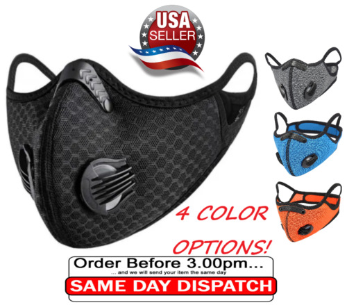 Face Mask With Active Carbon Filter Cycling Washable Reusable