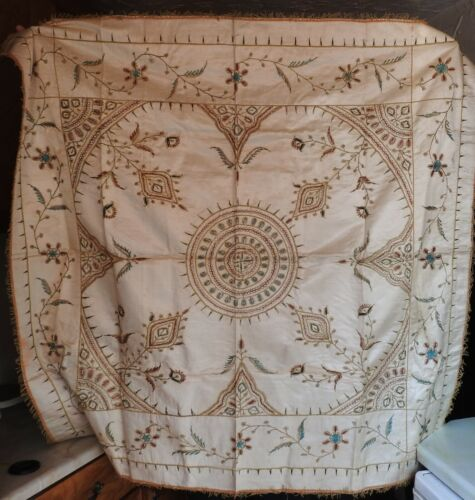 ANTIQUE OTTOMAN TURKISH EMBROIDERED SILK TABLE COVER