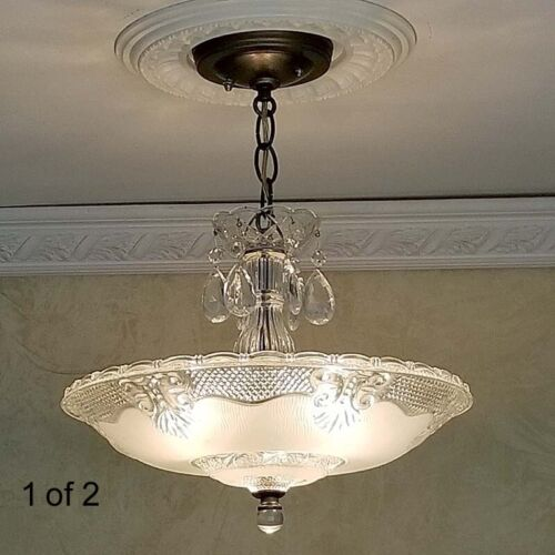 284 Vintage Antique 40's Ceiling Lamp Fixture Glass Shade Chandelier 3 Lights