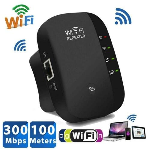 WIFI REPEATER EXTENDER SIGNAL BOOSTER 300MBPS WIRELESS AMPLIFIER BLACK