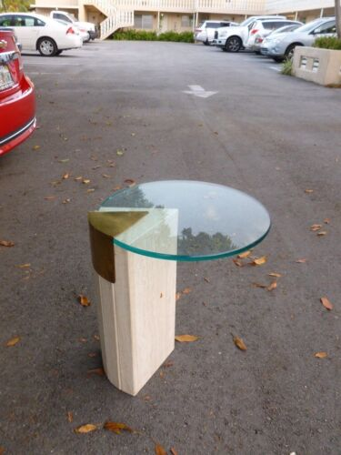 1970'S MARBLE BRASS AND GLASS OCCASIONAL TABLE  - P