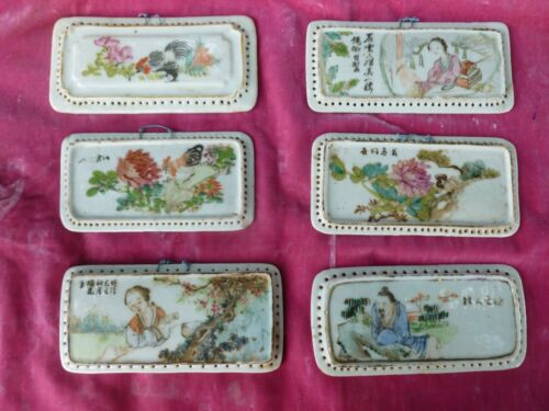 6 19TH C QING DYNASTY FAMILLE ROSE PORCELAIN PLAQUES W PAINTED DECORATIONS
