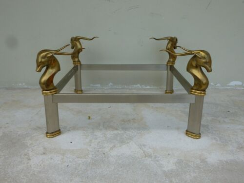 FABULOUS 1970'S  BRUSHED STEEL AND BRASS SQUARE COFFEE TABLE W GAZELLE HEADS