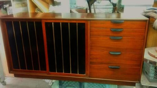 SUPER RARE 1960'S HIGH STYLE HARVEY PROBBER LEATHER , BRASS AND WOOD CREDENZA