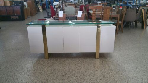HOT DESIGNER ITALIAN STYLE LACQUER & BRASS SIDEBOARD FLOATING GLASS TOP - P