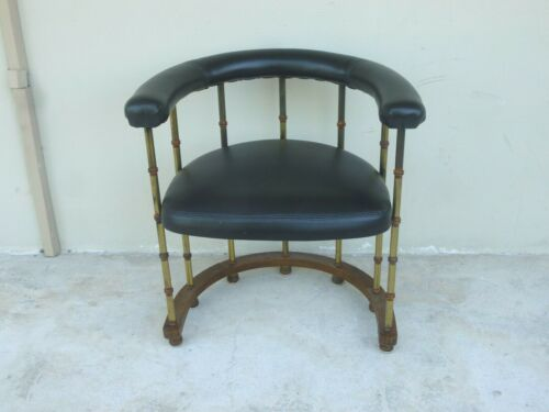 CHIC 70'S MASTERCRAFT STYLE BRASS PLATED FAUX BAMBOO BARREL BACK CHAIR