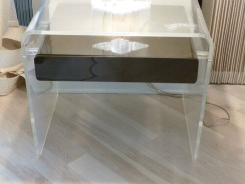 COOL MOD GROOVY 70'S CLEAR LUCITE NIGHT TABLE WITH BROWN LUCITE DRAWER