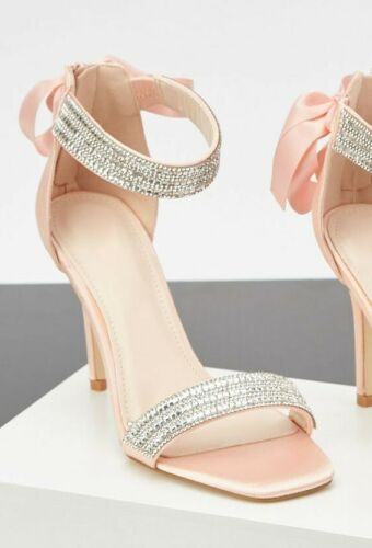SIZE 4 5 PINK SATIN DIAMANTE HIGH HEEL ANKLE CUFF BOW SANDALS SHOES 37 38 BNWB