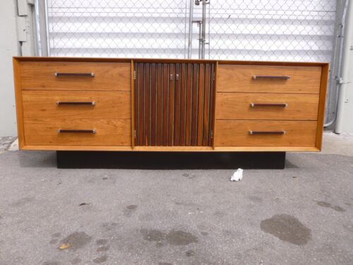 SEXY MID CENTURY MODERN  LANE WALNUT AND ROSEWOOD ARCHITECTURAL CREDENZA - P
