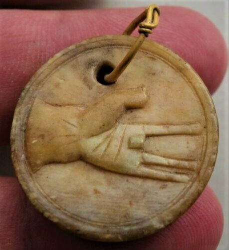 Ancient Roman Spintria-token,with left hand and folded finger hang on gold loop