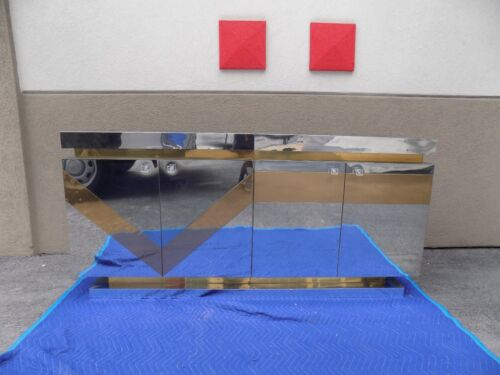 "WILD  MID CENTURY 70'S POLISHED BRASS AND CHROME CREDENZA ""AS IS :"