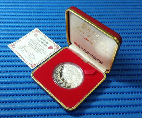 1988 Singapore Lunar Year of the Dragon $10 Silver Proof Coin