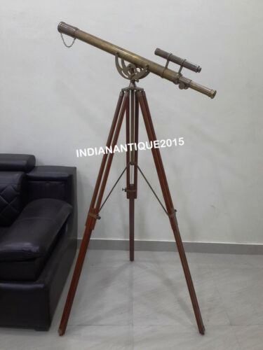 """39""""Nautical Antique Brown Telescope Double Barrel With Tripod Stand"""