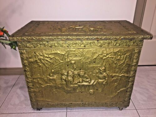 Antique Brass Over Solid Oak Coal Fireplace Trunk Chest Box Storage 18th Century