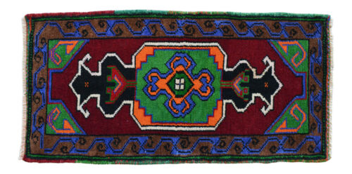 """Low Pile Small Area Rug Hand Knotted Turkish Yastik Rug DOOR MAT - 1'7"""" x 3'1"""""""