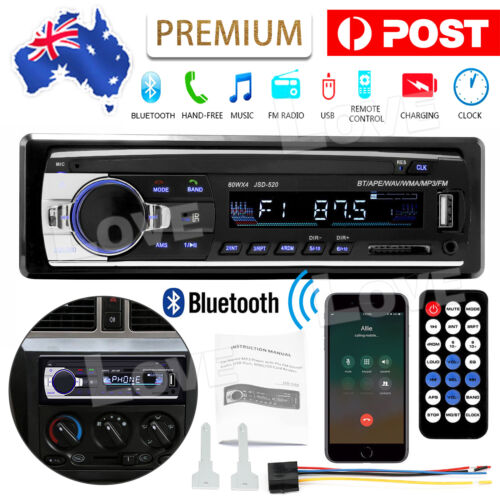 Car Radio Stereo 1Din Bluetooth FM Audio Head Unit Player MP3/USB/SD/AUX In-Dash