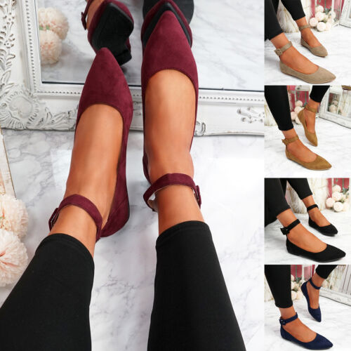 WOMENS LADIES ANKLE STRAP POINTED PUMPS FAUX SUEDE BALLERINAS COMFY SUMMER SHOES