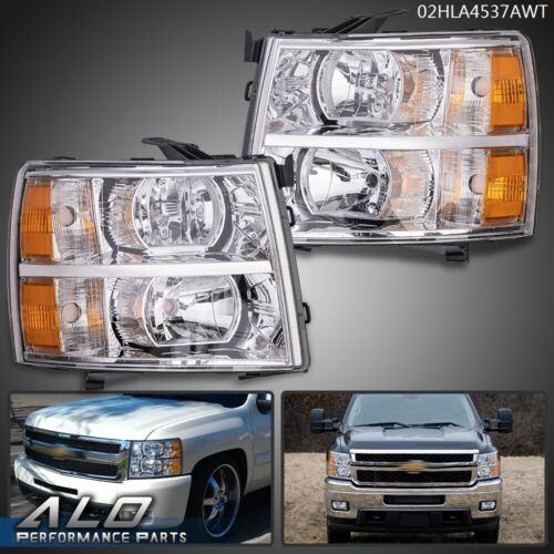 Fit for 07-13 Chevy Silverado 1500/2500Amber Headlights Chrome Replacement <br/> Top Seller, Product & Service! Fast & Easy Shipping!