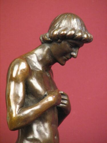 SIGNED LIMITED EDITION BRONZE SCULPTURE NUDE MALE ADAM STATUE ON  MARBLE BASE
