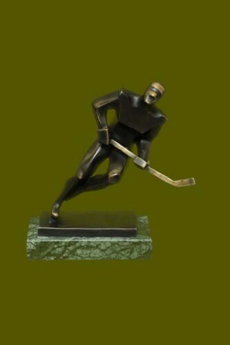 Handcrafted by Lost Wax Method Mid Century Male Hockey Player Bronze Sculpture