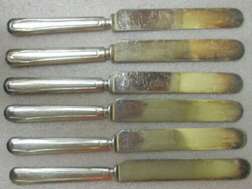 6 Antique Blunt Blade Knives Clinton pat Wm Rogers SILVERPLATE WARRANTED 12 DWT!