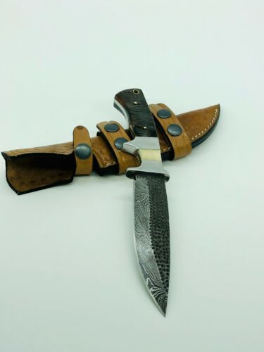 Damascus Hunting Knife Ram Horn Handle With Leather Sheath Full Tang Fire PaternKnives - 42574