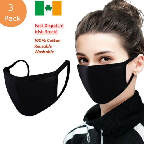 Face Mask Covering Washable and Reusable 100% Cotton Unisex 3 Pack <br/> Irish Stock✅ Fast Dispatch✅Premium Quality
