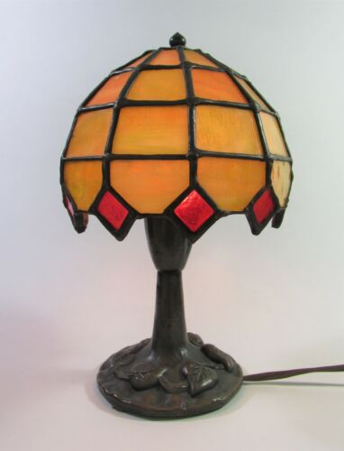 "Unusual Vintage Stained Glass Lamp by The Christiansens Lamp Co.Signed 8"" Tall"