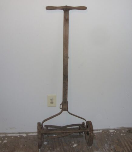 Antique Collectible Rotary Push Reel Lawn Mower with Durable Iron (Steel) Wheels