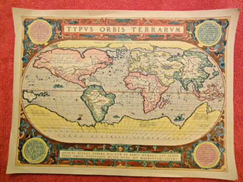 Antique World Map, unframed reproduction - ORBIS TERRARVM, 18X13 inches
