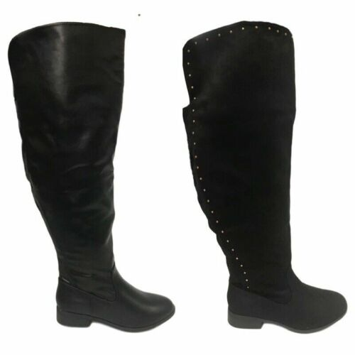 Ladies Black Extra Wide Fit Calf Long Super Curvy Womens Boots Size 4-9