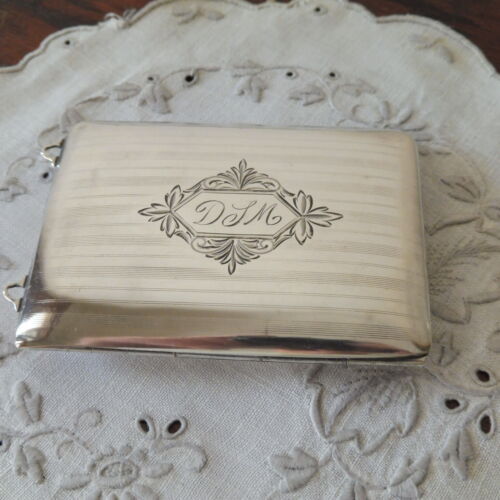 Antique Edwardian Sterling Silver Boxed Monogrammed Card Case