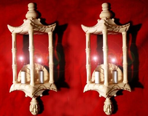 SET of 2 Vintage Rare, HAND CARVED, BASS WOOD  Pagoda Bamboo Design Wall SCONCES