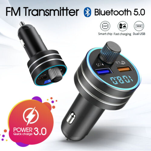 QC3.0 Fast Charging Bluetooth 5.0 Car Kit Wireless FM Transmitter Dual USB MP3